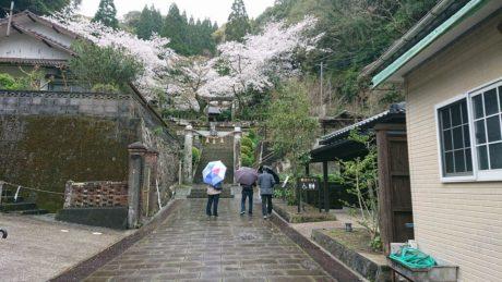 左に旧崎津教会跡